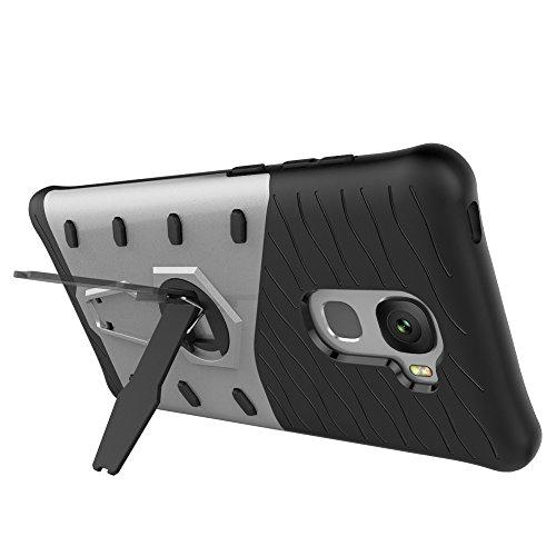 Für LeTV Pro 3 X720 Gehäuse Neue Rüstung Tough Style Hybrid Dual Layer Rüstung Defender Soft TPU / PC Rückseitige Abdeckung Fall Mit 360 ° Stand [Shockproof Case] ( Color : Gold ) Silver
