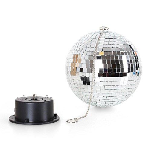 ll XL LED-Discokugel mit Licht und Motor (20cm Diskokugel, inkl. Decken-Halterung mit Motor, 8 x RGBY-LEDs) silber (8 Mirror Ball)