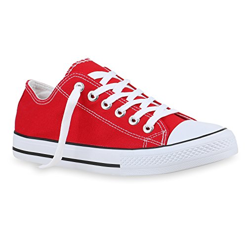 Stiefelparadies Herren Sneaker High Basic Schnürschuhe Turnschuhe Freizeit Schuhe 155411 Rot 46 Flandell