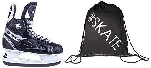 SET - SPOKEY SNIPE Eishockeyschlittschuhe + ULTRAPOWER Beutelrucksack | Schlittschuhe | 39-46 | Edelstahlkufen | Ergomisch | Verstärkte Kappe, Größe/Size:42