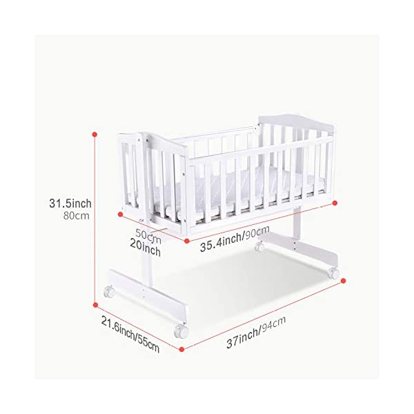 RUNQIAN Swinging Crib, Deluxe Multifunction Gliding Crib White RUNQIAN Create a relaxing sleeping area for your precious child and feel like you are swaying in your arms Suitable from birth to 6 months Simple locking device for easy locking in the rest position 5