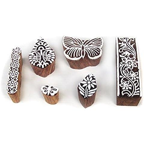 Elegante Mariposa y Floral Diseños Madera Bloque Impresión Sellos (Set de 6)