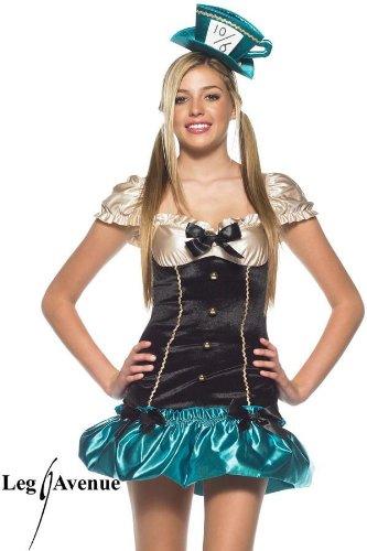Kostüm Tea Party (Leg Avenue - 2-teilig - Tea party Hostess Kostüm - ML - Schwarz/Grün -)