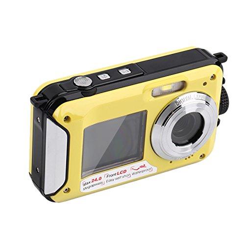 Galleria fotografica hokatec EC137subacquea della fotocamera digitale (24Megapixel, Stabilizzatore d' Immagine, Dual Schermo (anteriore 6,8cm = 2,7pollici e 1,8pollici = 4,6cm), 16X Zoom, impermeabile fino a 3meter)