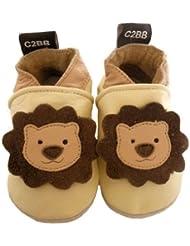 C2BB - Chaussons bébé en cuir souple garçon   Petit lion