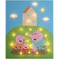 Illuminated Canvas IC-PeppaPigFamilyMuddyPuddle LED Light Up Peppa Pig Family Muddy Puddle Design, Green/Pink preiswert