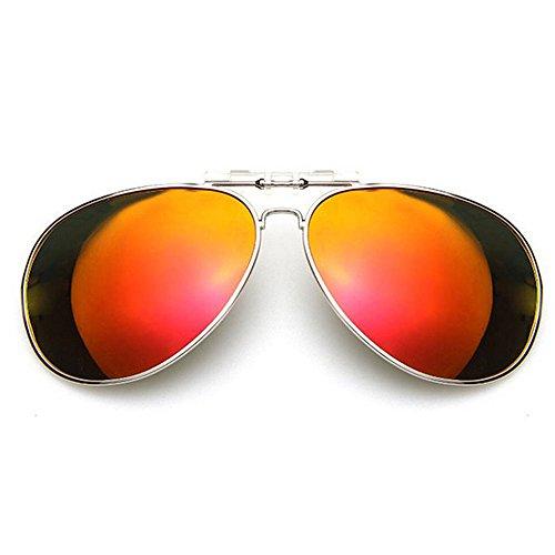 HOUTBY® Unisex Spiegel Aviator Sonnenbrille Polarisierte UV400 Linse Clip on Flip up Myopie SunGlasses