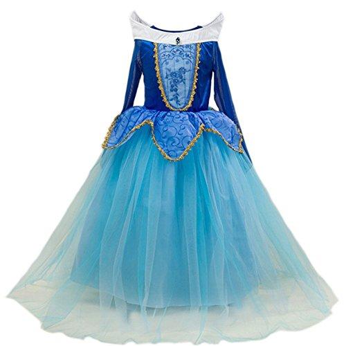 GenialES Costume Principessa Blu Carino Costume Cosplay Festa Nuziale Compleanno Halloween Carnival Ragazze 120