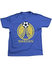 Niños O Niñas Sweden Country Name and Rocket Ball Camiseta Fútbol Copa ...