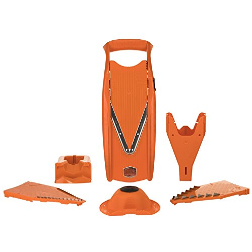 Börner Gemüsehobel V5 Powerline Profi Set orange Gemüseschneider Karottenhobel Kartoffelschneider vegan Edelstahlklingen BPA-frei (Mandoline Slicer Set Reibe)
