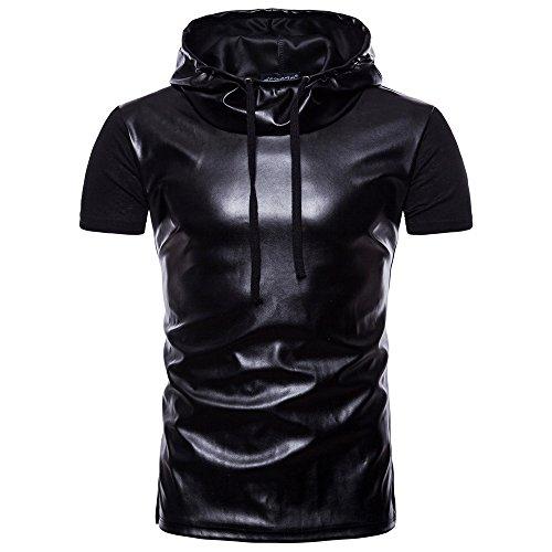 (Oyedens Mode Männer Sommer Casual Revers Hoodie Lackleder T-Shirt Gothic Kleidung Herren Top Bluseherren Kurzarm Aus Leder Mit Kapuze)