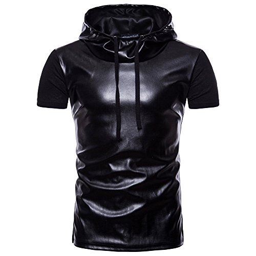 Oyedens Mode Männer Sommer Casual Revers Hoodie Lackleder T-Shirt Gothic Kleidung Herren Top...