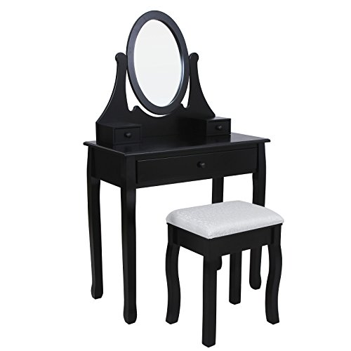 Songmics-Tocador-con-cajones-espejo-y-taburete-Negro-RDT02H