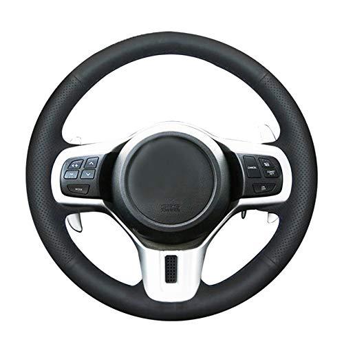 HCDSWSN Handgenähtes schwarzes Echtleder-Auto-Lenkradbezug für Mitsubishi Lancer 10 EVO Evolution (Lancer Evolution 10)