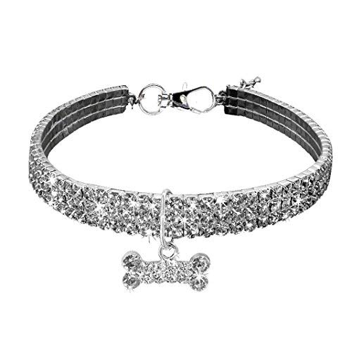 BangBang Puppy Halskette Strass Bling Halsband Knochen Anhänger -