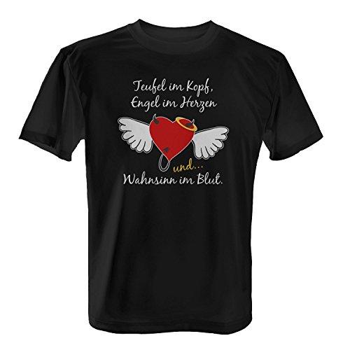 Teufel Engel Wahnsinn - Herren T-Shirt von Fashionalarm | Spaß & Fun Shirt mit Spruch | Ideal als Geburtstag Geschenk Idee für Männer Herz mit Flügeln Heiligenschein Lustig Verrückt, (Flügel Und Teufel Engel)