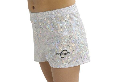 Obersee O3GS002CM - Mädchen Gymnastik Shorts, Größe M, silber hologrammstoff - Silber Mädchen Shorts
