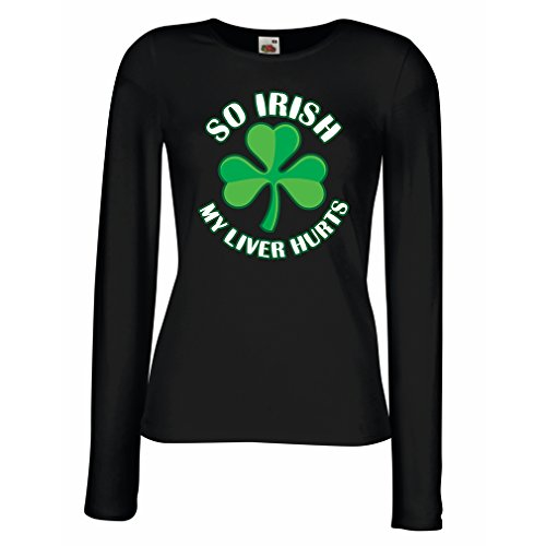 manches-longues-femme-t-shirt-st-paddys-day-sayings-shirts-so-irish-x-large-noir-multicolore