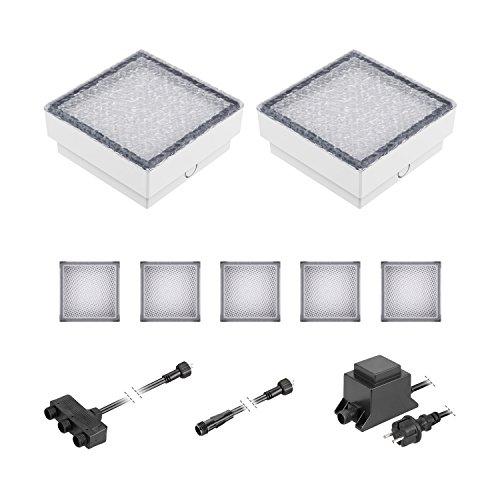 ledscom.de LED Pflaster-Stein Gorgon Boden-Einbauleuchte für außen, 15x15cm, 12V, warm-weiß 7er Set