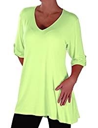 EyeCatch Plus - Shellie Womens Casual V Neck Tunic Plus Size Ladies Flared Long Top