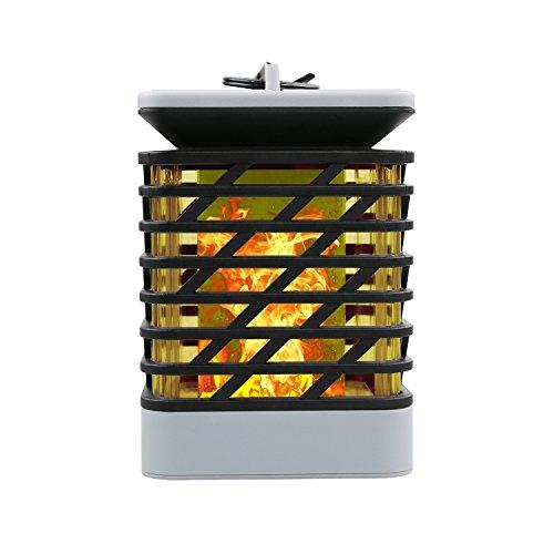 MIANBAOSHU LED Solar Laterne IP55 Wasserdichte Gartendeko Rattan Optik Solar Leuchte,Romantisch Landschaft Flamme Laternen mit Kerzen-Flackerlicht Solarleuchte Deko-lampe [Energieklasse A+++]