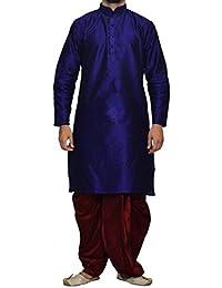 Royal Men's Art Silk Blend Dhoti Kurta Set_Navy
