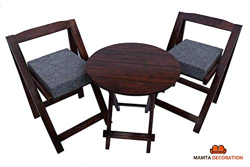Mamta Decoration Sheesham Wood Foldable Patio Dining Set for Balcony Garden and Outdoor | 2 Chairs and Table | Brown
