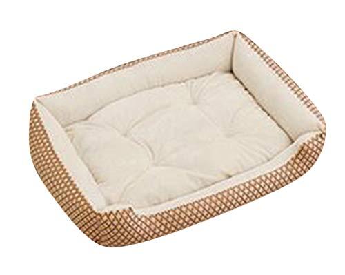 GUOCU Hundebett Hundebett mit Kissen und kuscheligem Plüsch für Kleine und große Hunde Weich Futter Abnehmbar Reinigbar Beige W M