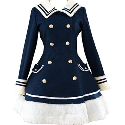 Partiss Damen Langarm Taille-kontrolliert Seemann Stil Lolita Mantel,XXL,Navy