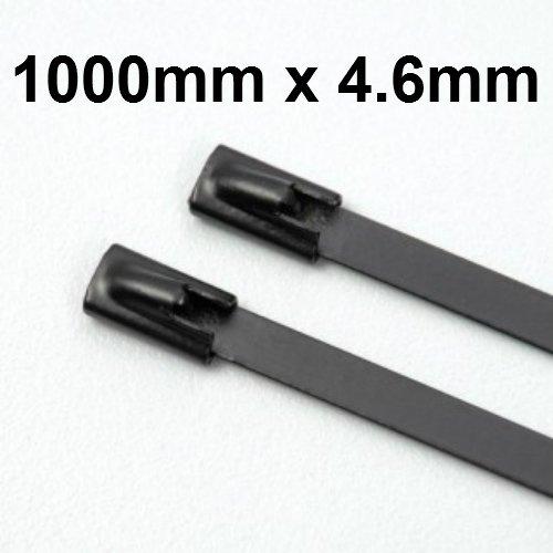 Starke Edelstahl Marine Grade Metall selbstsperrenden Kabelbinder Auspuff beschichtet Größe 1000mm X 4,6mm-100 -