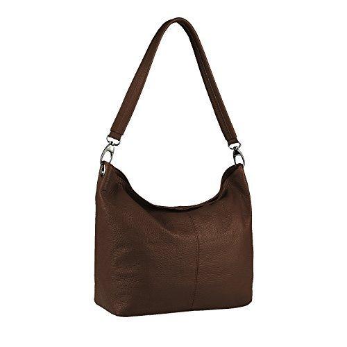 OBC Made in Italy Damen Echtleder Tasche Umhängetasche Schultertasche Messenger Clutch Ipad/Tablettasche bis ca. 10 Zoll City Bag ca. 36x24x14 cm (BxHxT) (Grau) Dunkelbraun V1