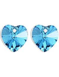 Peora Swarovski Elements Azure Blue Heart Studs for Women and Girls