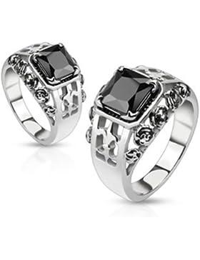 Paula & Fritz® Ring aus Edelstahl Chirurgenstahl 316L Fleur De Lis mit schwarzem Stein verfügbare Ringgrößen 50...