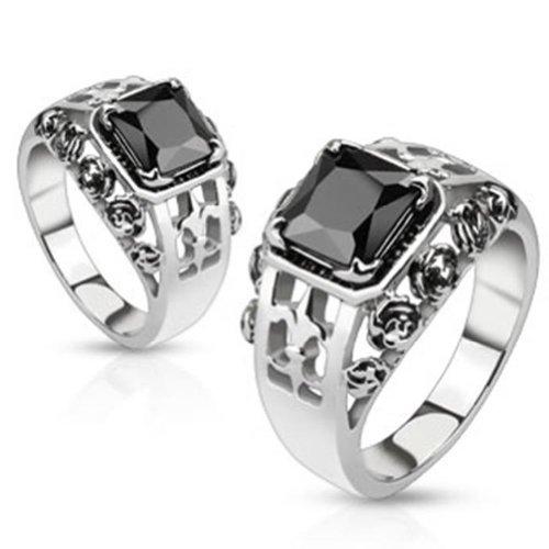 Paula & Fritz anello in acciaio inox 316L Fleur De Lis con nero Pietre disponibile anello misure 5016-6922R M2534, acciaio inossidabile, 17,5, cod. R-M2534-8