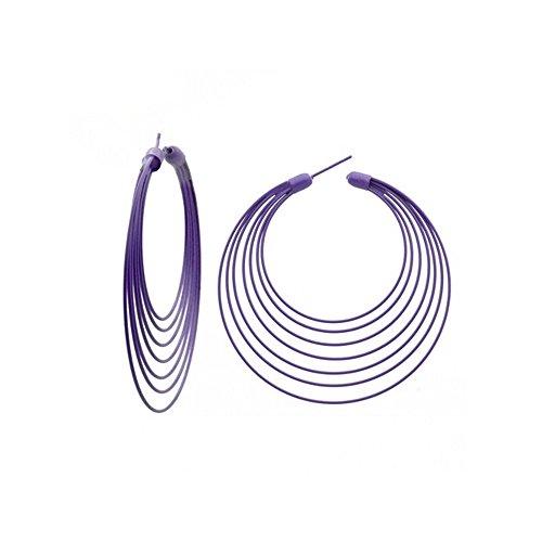 Boucles d oreilles Créoles Multi-rangs Violet