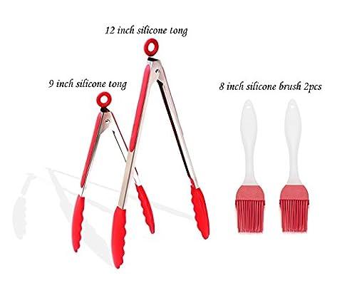 Premium en acier inoxydable verrouillage Pince avec silicone alimentaire cuisson Tips-4Lot Pince (22,9x 30,5cm + 2pièces de brosse de 20,3cm)