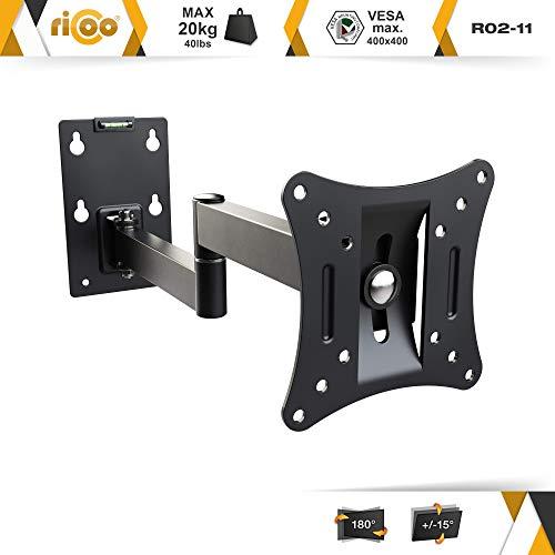 RICOO Monitor-Halterung R02-11 Monitor-Halter Wandhalterung-TV Schwenkbar Neigbar LCD LED Wandhalter fuer Flach-Bildschirm PC-Monitor 43-49-54-61-68cm / 17′ 19′ 22′ 24′ 27′ Zoll | VESA max. 100 x 100 universell | Wandabstand nur 68 mm | - 2