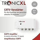 TronicXL DVBT DVBT2 Kabelfernsehen 4-Fach Verteiler mit Verstärker 4 x 10dB Viergeräteverstärker Verteiler +...