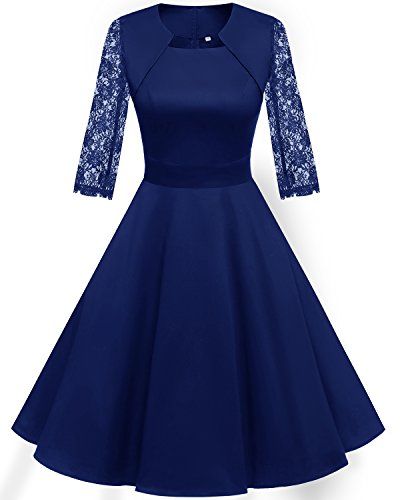HomRain Damen 50er Vintage Retro Kleid Party Langarm Rockabilly Cocktail Abendkleider Royal Blue-1 M