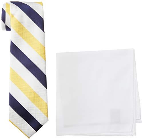 Nautica Herren Stripe Tie & Pocket Square Set Krawatte, gelb, Einheitsgröße - Nautica Gestreifte Krawatte