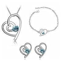 Hosaire Fashion Necklace Earrings Bracelet Heart Style Diamond Crystal Elegant Women Jewellery Set of Crystal Pendant Necklace+Earrings+Bracelet