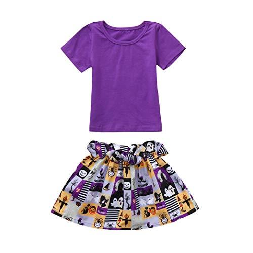 re Tops + Hosen Baby Mädchen Kürbis Halloween Kostüm Outfits (3 Jahre, Lila) ()
