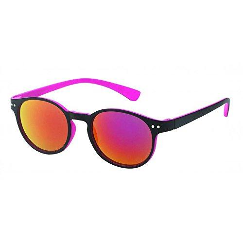 Chic-Net Sonnenbrille rund John Lennon Punkte 400UV Schlüsselloch Steg neon Farben pink