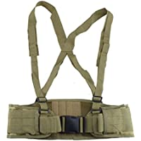 AGPTEK Cinturón Táctico Militar Molle, Suave Acolchado con Tirante (Camuflaje) para Caza Airsoft Paintball Deportes Al Aire