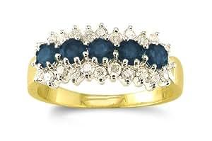 Attractive 9 ct Gold Ladies 5 Stones Diamond Ring Brilliant Cut 0.40 Carat H-I1 with Sapphire Size L