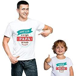 Calledelregalo Regalo Personalizado para Padres e Hijos: Pack de Dos Camisetas 'Mejor Padre y Mejor Hijo' Personalizadas con Sus Nombres