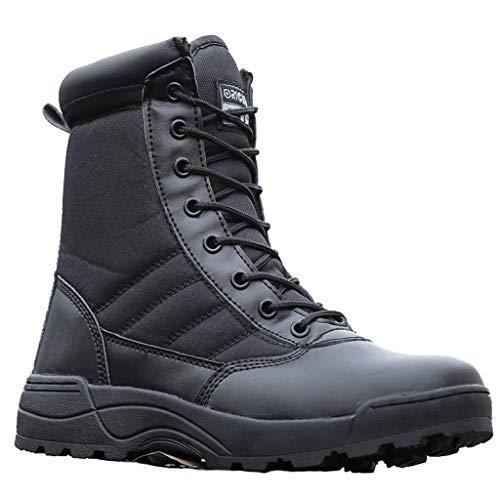 GOAIJFEN Herren Militärstiefel Strapazierfähige Army Combat Patrol Taktische Stiefel Atmungsaktive leichte Taktische Stiefel Outdoor Desert Camo Army Patrol Wandern Schnürschuhe Größe,Black-42 -
