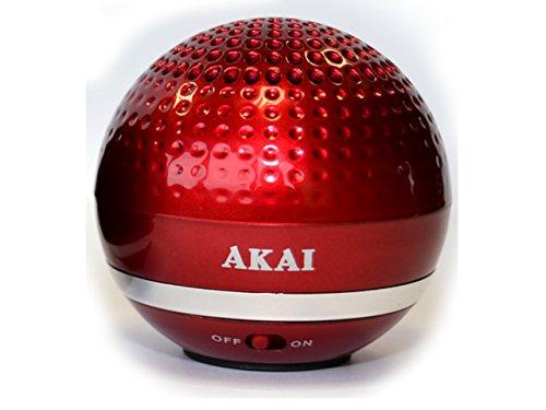 Akai AKS510/RD - Altavoz con Bluetooth en Forma de Pelota, Color Rojo