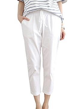 Mujer Casual Cintura Alta Pantalones Suelto Transpirable Pantalones Harem