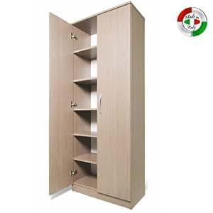 Armadio scarpiera in legno mobile due ante multiuso 6 ripiani cm182x71x38 casa e cucina - Mobile stiro mondo convenienza ...